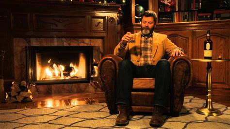 nick offerman youtube whiskey nick offerman drinks scotch whisky in front of a cozy
