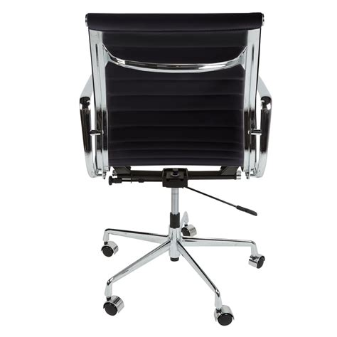 ribbed office chair eames inspired black back style ribbed office chair