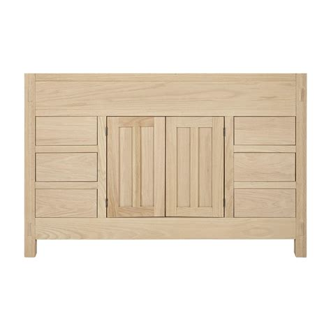Unfinished Furniture Bathroom Vanity 48 Quot Unfinished Narrow Depth Mission Hardwood Vanity For Undermount Sink Wood Vanities