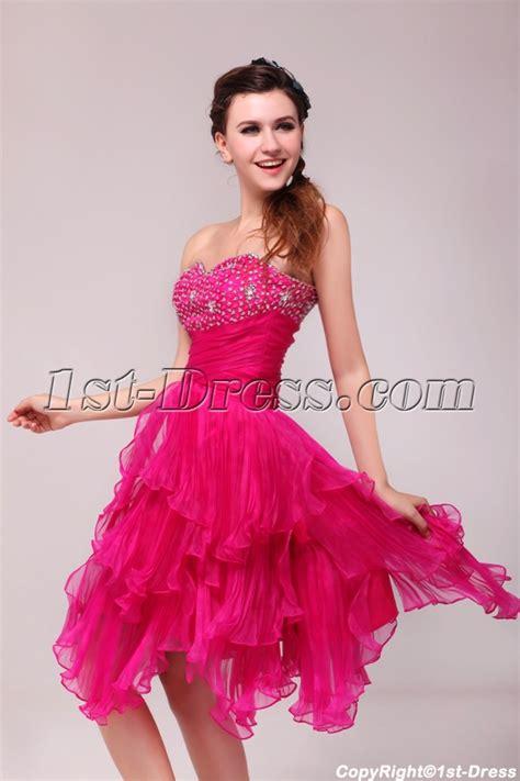 Pretty Hot Pink Knee Length Junior Club Party Dress:1st dress.com