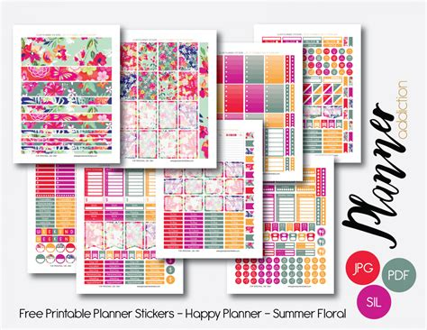 happy planner free printable stickers monthly set summer floral planner addiction