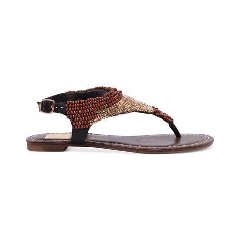 beaded flat sandals dolce vita delancey beaded flat sandals in brown lyst