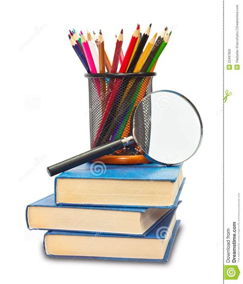 pictures of books and pencils the book pencils and magnifying glass stock photo