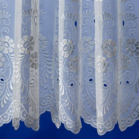 Embroidered Voile Curtains Uk amelia white embroidered voile net curtain 2 curtains