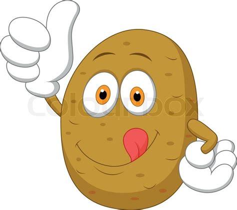 Cute potato cartoon thumb up   Stock Vector   Colourbox