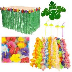 hawaiian luau bundle pack set hibiscus table skirt
