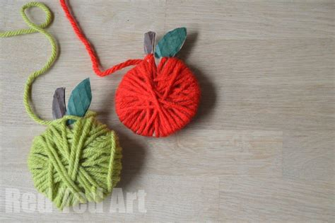 yarn wrapped apple crafts  kids red ted arts blog