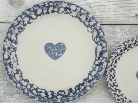 heart pattern dinnerware folkcraft hearts spongeware pottery tienshan china dishes