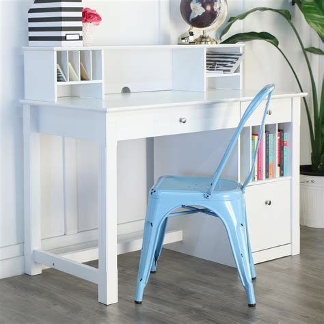 Amazon Com We Furniture White Wood Deluxe Storage White Wood Desk With Hutch