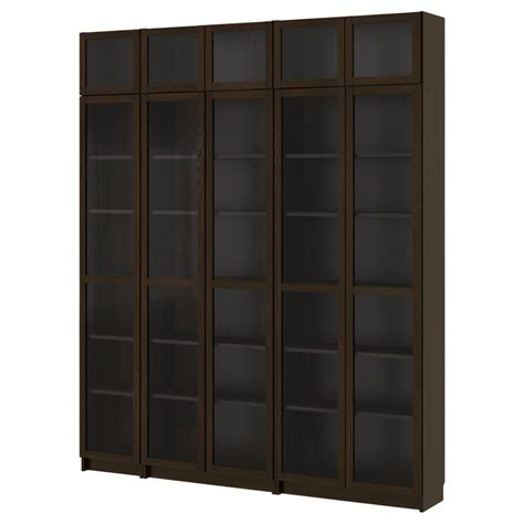 billy bookcase with glass door black brown ikea this