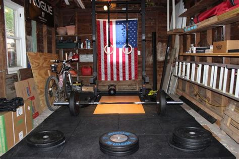 home garage rogue fitness crossfit american flag