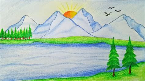 how to draw landscape pictures of easy to draw landscapes how to draw scenery of