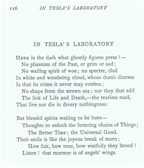Nikola Tesla Poems Above Poem Written By Robert Underwood Johnson About