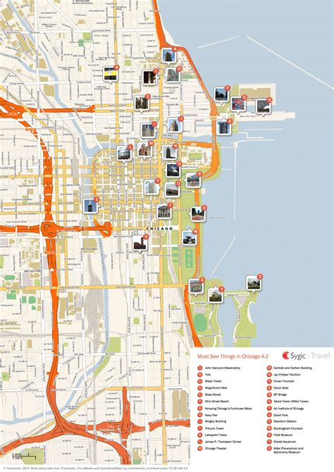 chicago map attractions chicago map