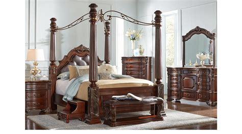 south hton king bedroom set southton walnut brown 6 pc king canopy bedroom