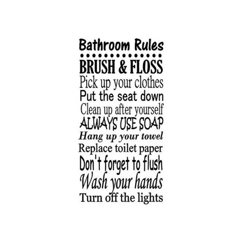 bathroom rules decal bathroom rules decal vinyl wall art family room decor