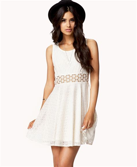 Forever21 Lace Dress forever 21 crochet panel lace dress in white lyst