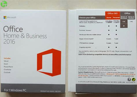 Microsoft Office Oem microsoft office 2016 home and business pkc retail version oem coa sticker