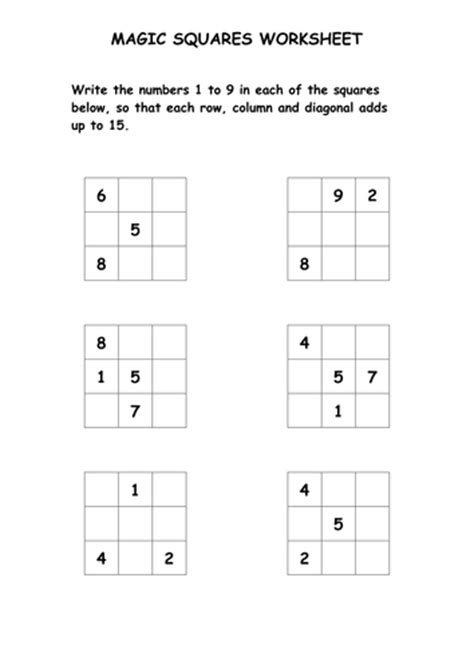 Easy Magic Squares Worksheet by Magic Squares Puzzle Worksheet By Ryansmailes Teaching