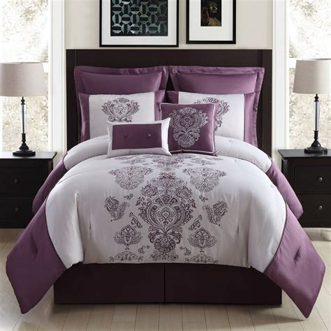 8 embroidered comforter set purple pendant home