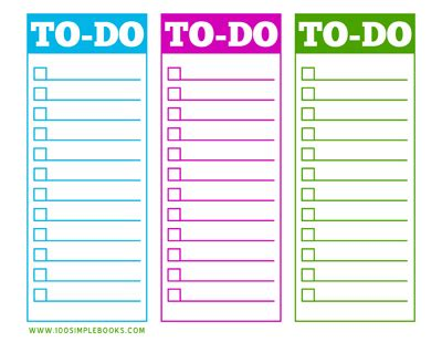 things to do template pdf free printable to do list 100 simple books