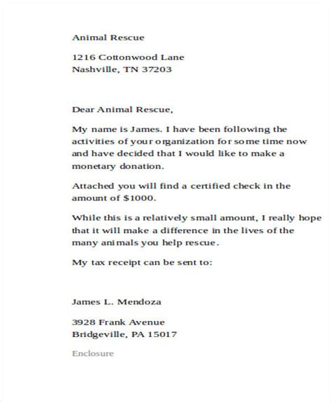 charity collection letter sle donation letter