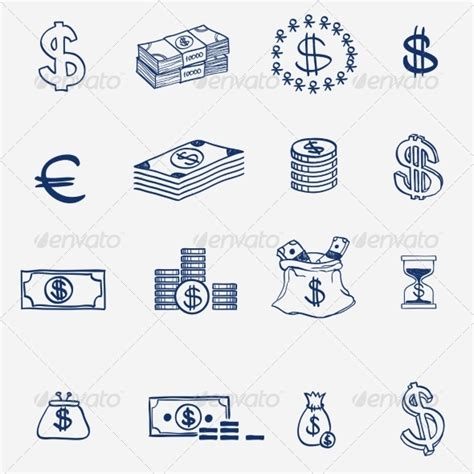 how to create money in doodle money icons set doodle sketch by undrey
