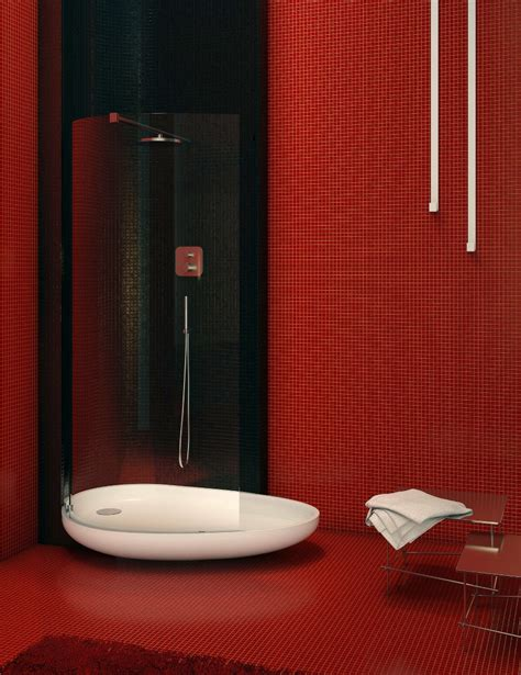 red wall bathroom sleek bathrooms by danelon meroni