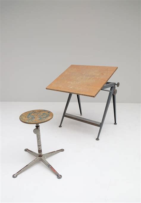 Drafting Table Stool by Mid Century Reply Drafting Table And Stool By Friso Kramer