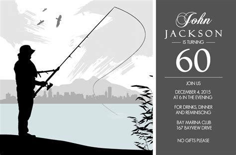 fishing birthday card template 60th birthday invitations grey fishing 60th birthday