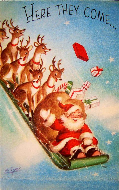 vintage christmas greeting card deer santa sled  marjorie cooper eb vintage christmas