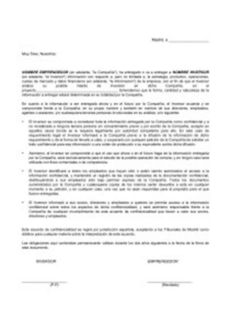 formato de carta de responsabilidad y confidencialidad contrato de confidencialidad del inversor modelo modelo