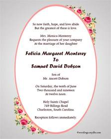 christian wedding invitation wording sles wordings and messages