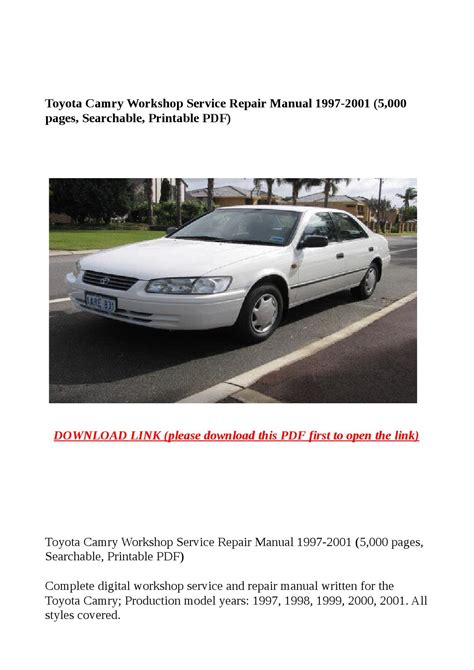 auto manual repair 1997 toyota camry user handbook toyota camry workshop service repair manual 1997 2001 5 000 pages searchable printable pdf
