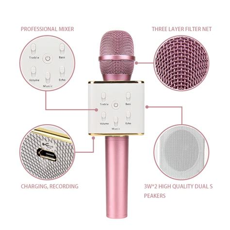 Mic Karoke by Q7 Karaoke Microphone Speaker Wireless Bluetooth Karaoke