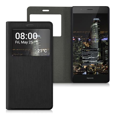 Huawei P8 Lite Window Leather Flip Cover Sarung Dompet Casing kwmobile flip cover for huawei p9 lite window slim