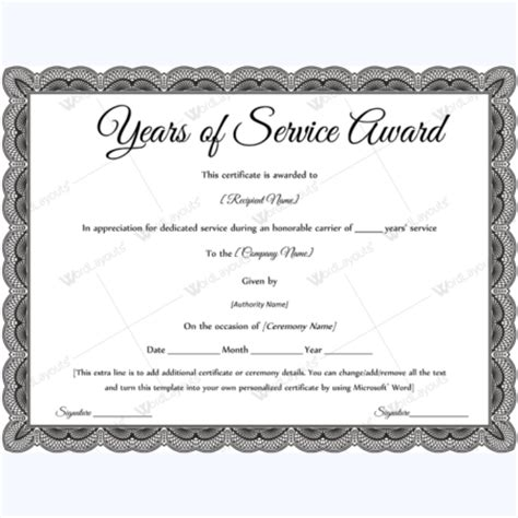 years of service award certificate templates word layouts