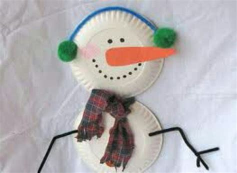 Paper Plate Snowman Craft - winter craft crafts