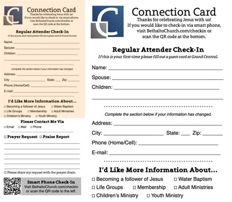 Church Connection Card Template Vector by Church Publications Church Admin Stuff