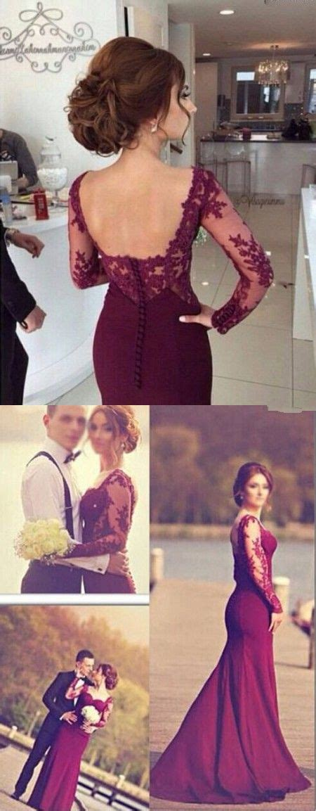 2016 mermaid evening gowns sleeves lace open back wedding on stylevore