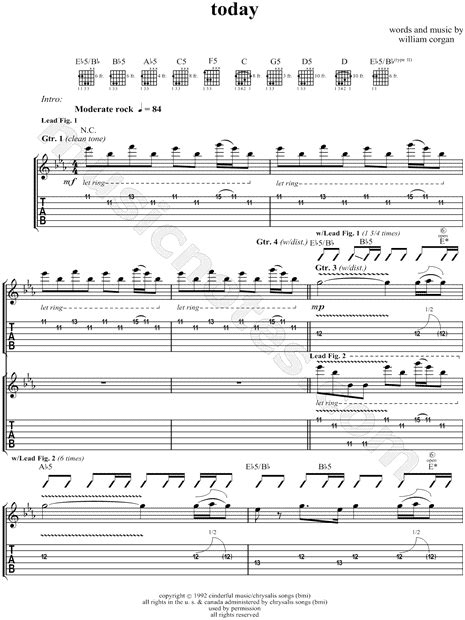 "The Smashing Pumpkins ""Today"" Guitar Tab in Eb Major"