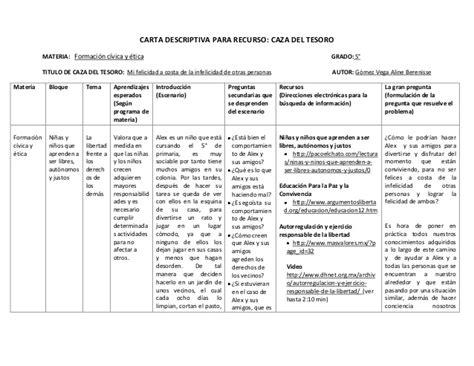ejemplo de cartas descriptivas de educacion preescolar carta descriptiva caza tesoro 1