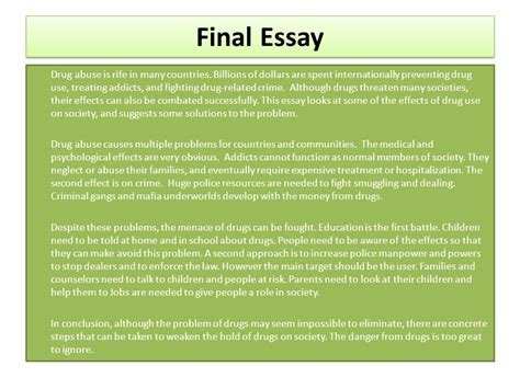 Substance Sbuse Counselors Essay by Problem Solution Essay Part 1 Ppt