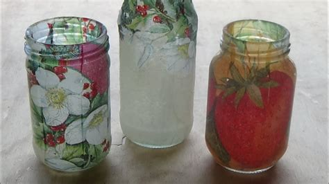 como decorar frascos de vidrio you tube c 243 mo decorar frascos de vidrio con decoupage candy bu