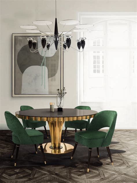 mood board emerald green for a stylish and trendy home decor