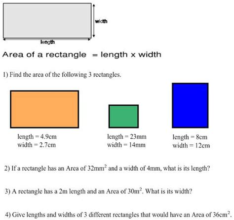 area of a square freemathtutoring area of a rectangle exercises part of