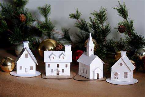 putz houses diy putz village ornament kit of 4 christmas glitter house