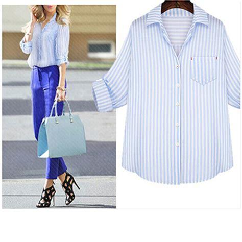Blue Stripe S M L Blouse 26331 womens shirt classic blue stripes white