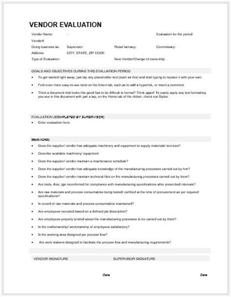 vendor evaluation form vendor evaluation forms templates for ms word word