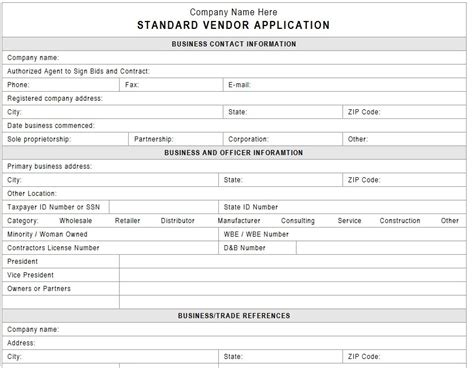 vendor application form template
